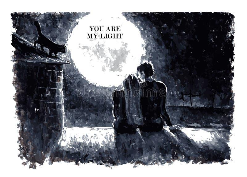 Czarny i biały akwarela wektoru ilustracja ilustracja wektor
