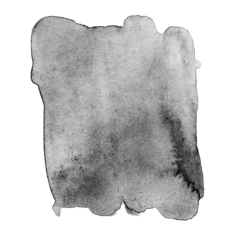 Czarny i biały akwareli plama Abstrakcjonistyczna ręka rysująca popielata woda ilustracja wektor