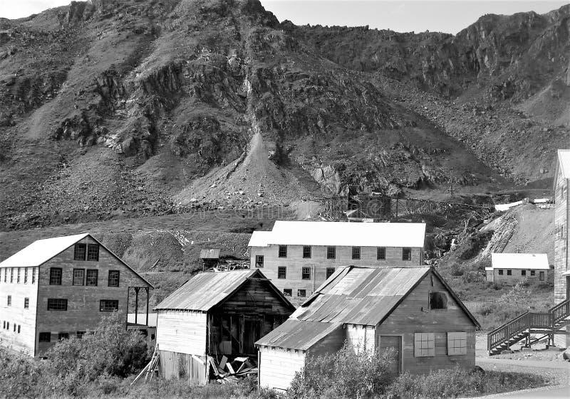 Czarny i biały Alaska miasto widmo zdjęcie stock