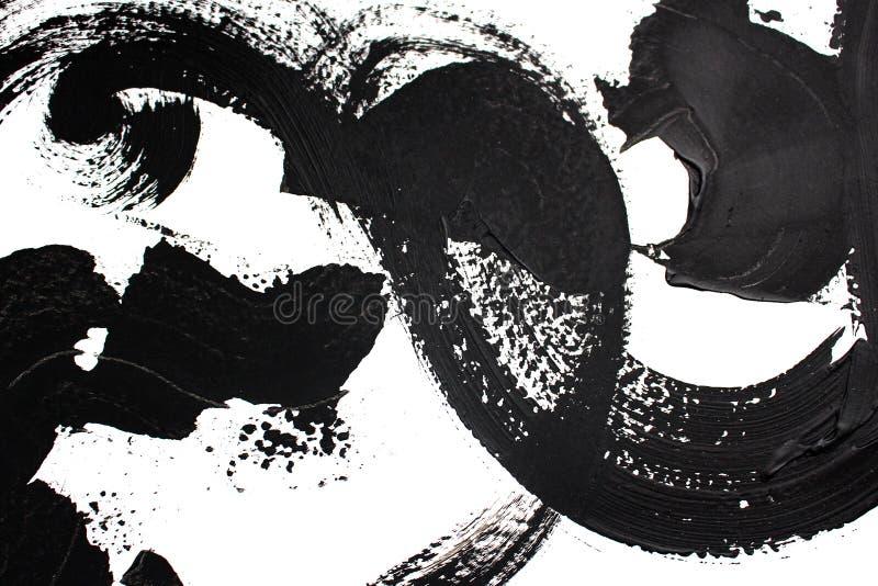 Czarny i biały art/Abstrakcjonistycznej sztuki tło Akrylowy obraz na kanwie Kolor tekstura Czerep grafika brushstrokes ilustracji