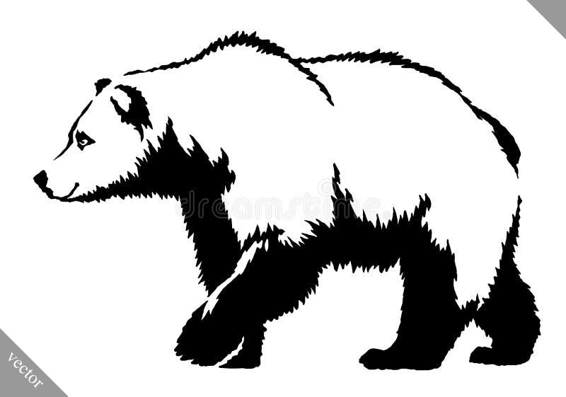 Czarny i biały atramentu remisu niedźwiedzia wektoru ilustracja royalty ilustracja
