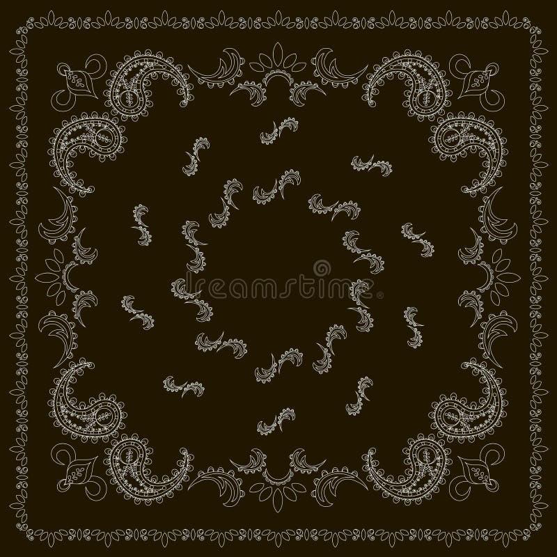 Czarny i biały bandany, ręka rysujący wzór, cienieją linię ilustracja wektor