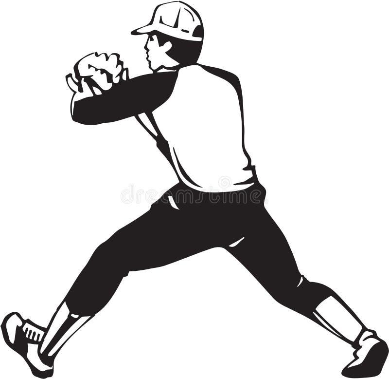 Czarny I Biały baseballa fielderu ilustracja royalty ilustracja