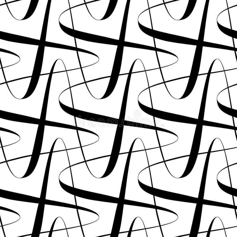 Czarny i biały bezszwowej wzór fala kreskowy styl, abstrakcjonistyczny backg ilustracja wektor