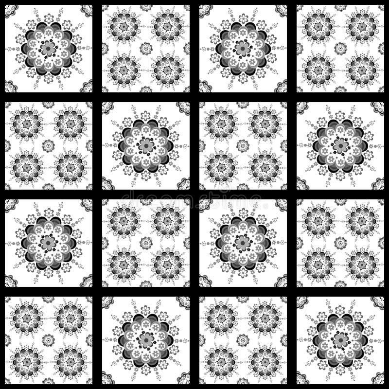 Czarny i biały bezszwowy wzór dla ceramicznego, porcelana, chinaware ilustracji