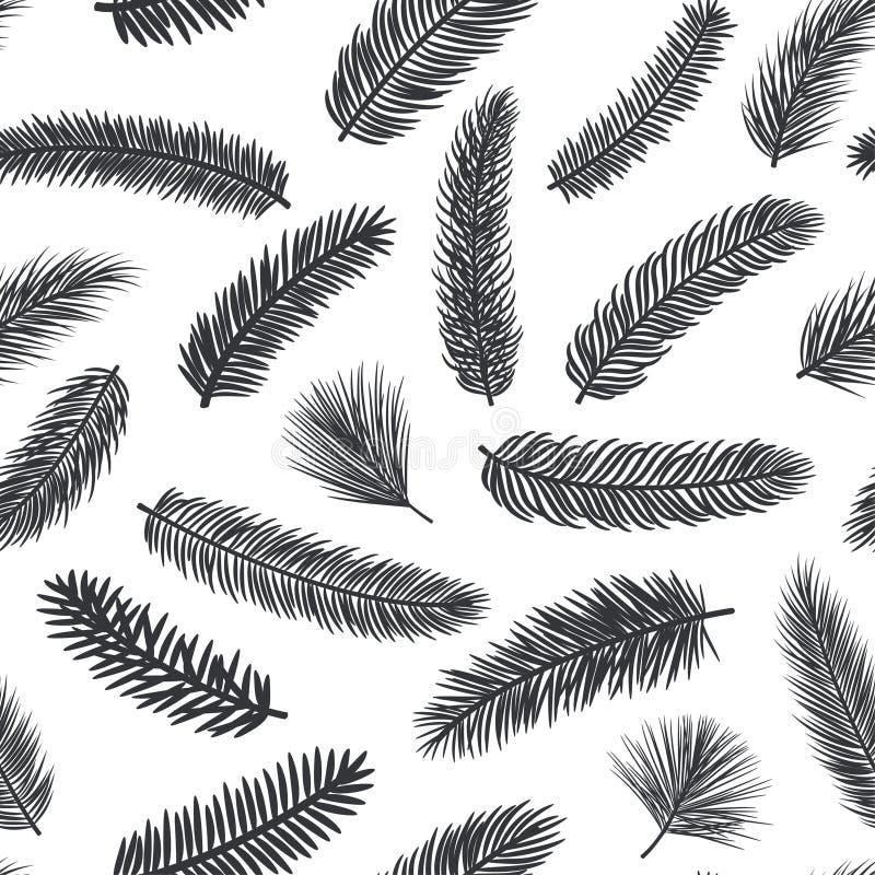 Czarny i biały bezszwowy wzór z jedlinowym sosnowym wiecznozielonym conifer kapuje ilustracji