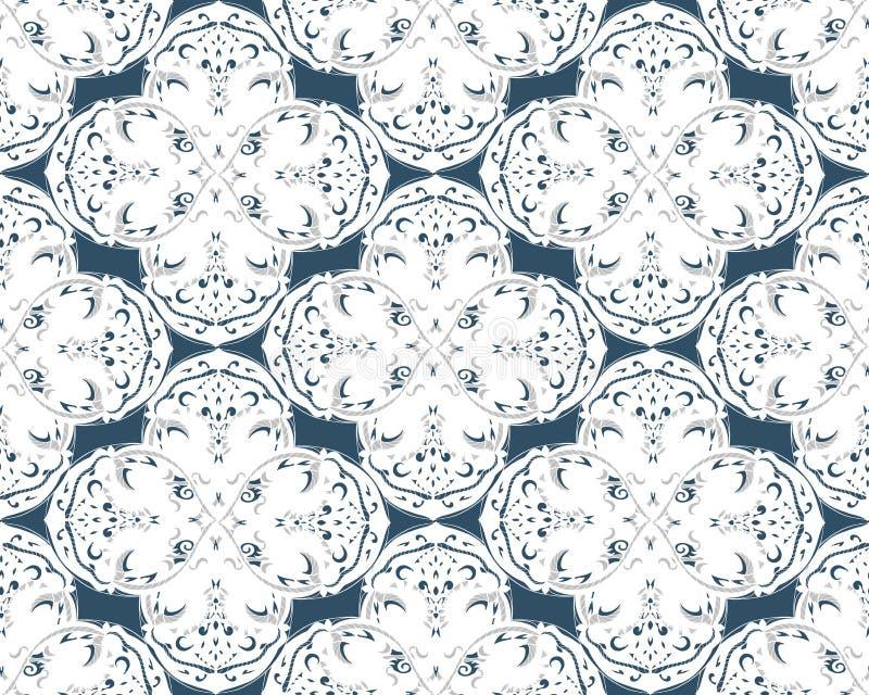 Czarny i biały bezszwowy wzór z kwiecistym i geometrical ornamentem w retro stylu ilustracja wektor