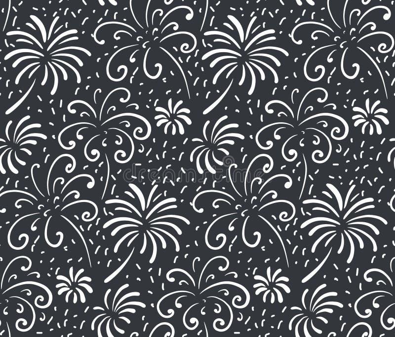 Czarny i biały bezszwowy wzór z ręka rysującymi fajerwerkami Monochromatyczny wakacyjny wektorowy niekończący się tło royalty ilustracja