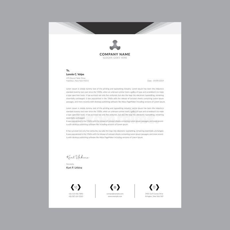 Czarny i bia?y biznesowi letterhead szablony royalty ilustracja