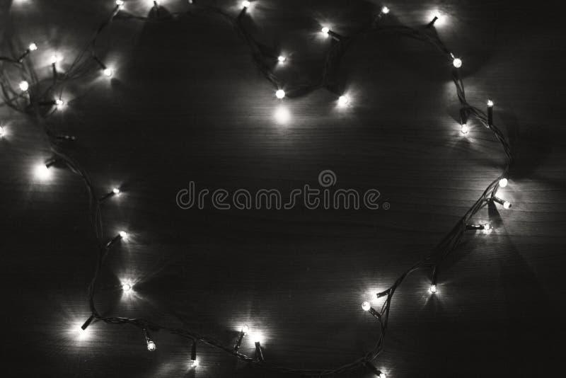 Czarny i biały bożonarodzeniowe światła obraz royalty free