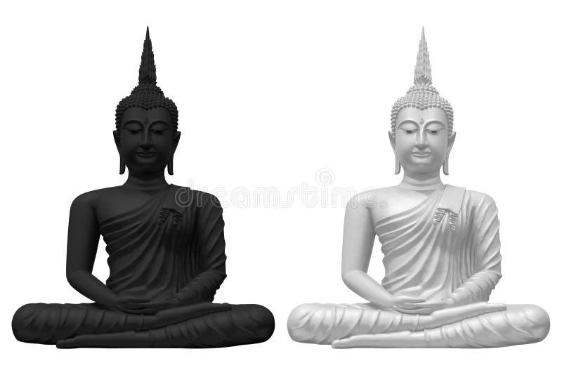 Czarny i biały Buddha zdjęcia royalty free