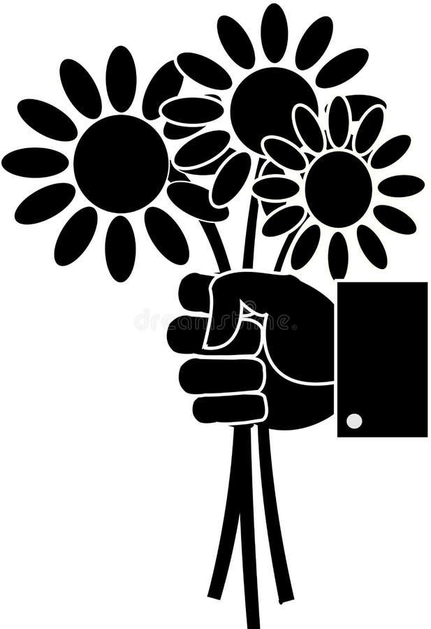 Czarny i biały bukiet stokrotka kwitnie w ręce ilustracja wektor