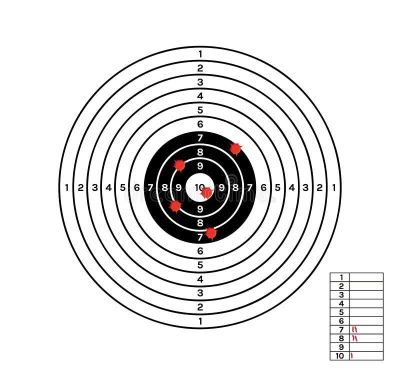 Czarny i biały cel z czerwonymi dziurami ilustracji