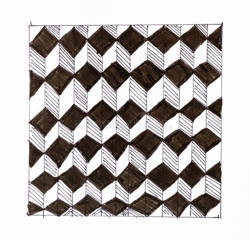 Czarny i biały chequered ornament od sześcianów ilustracji