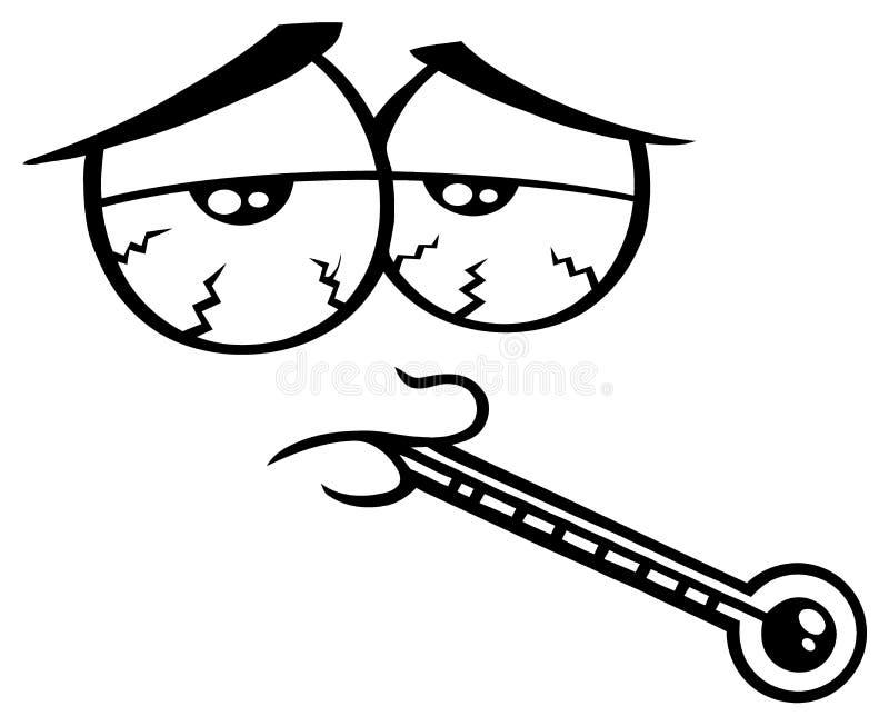 Czarny I Biały Chorej kreskówki Śmieszna twarz Z Zmęczonym wyrażeniem I termometrem ilustracja wektor