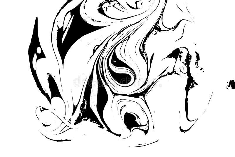 Czarny i biały ciekła tekstura Akwareli ręka rysująca wykładający marmurem ilustrację pochodzenie wektora abstrakcyjne monochrom ilustracji