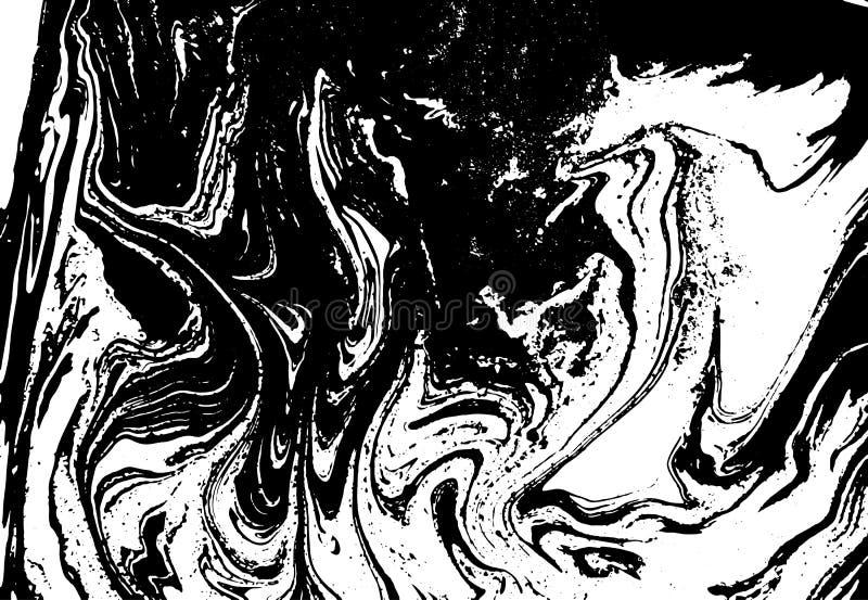 Czarny i biały ciekła tekstura Akwareli ręka rysująca wykładający marmurem ilustrację pochodzenie wektora abstrakcyjne monochrom ilustracja wektor