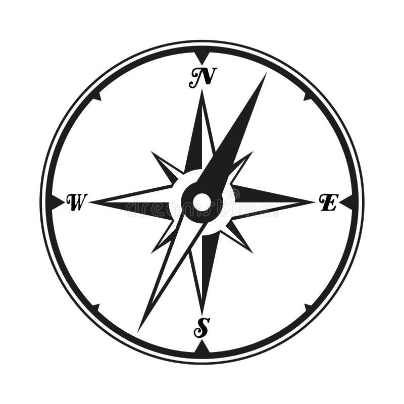 Czarny i biały cyrklowa windrose ikona, symbol lub ilustracja wektor