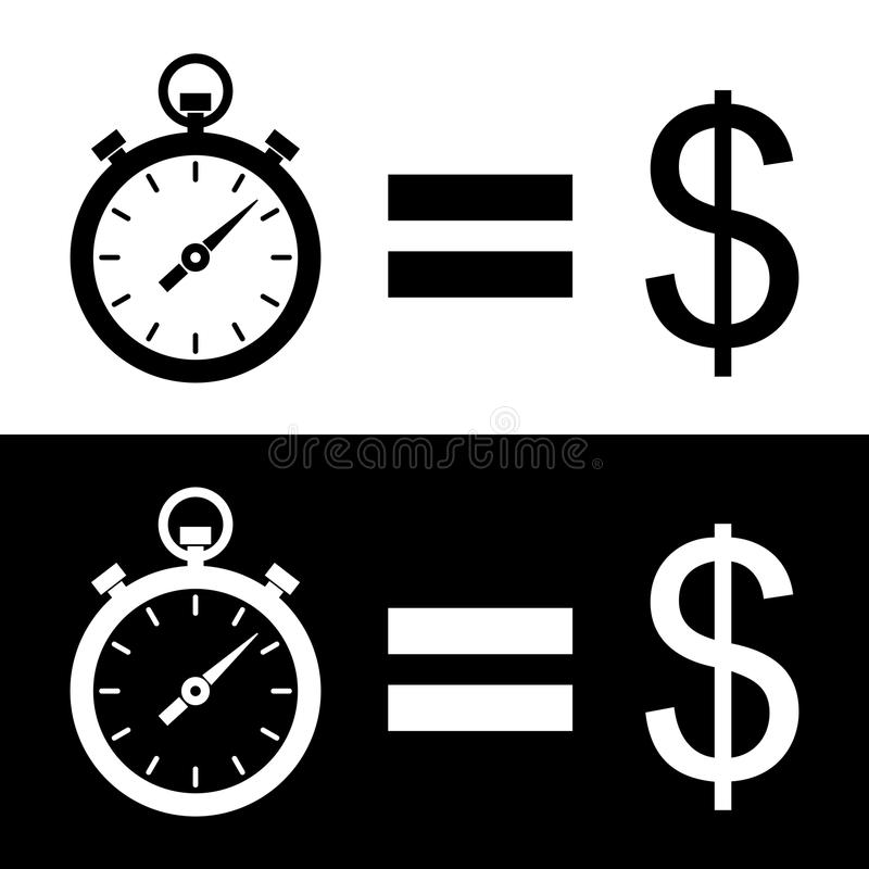 Czarny i biały ` czas jest pieniądze ` piktogramem Dwa różnicy ilustracji