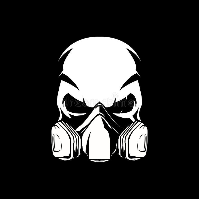 Czarny i biały czaszka z farby maski gazowej wektorem ilustracja wektor
