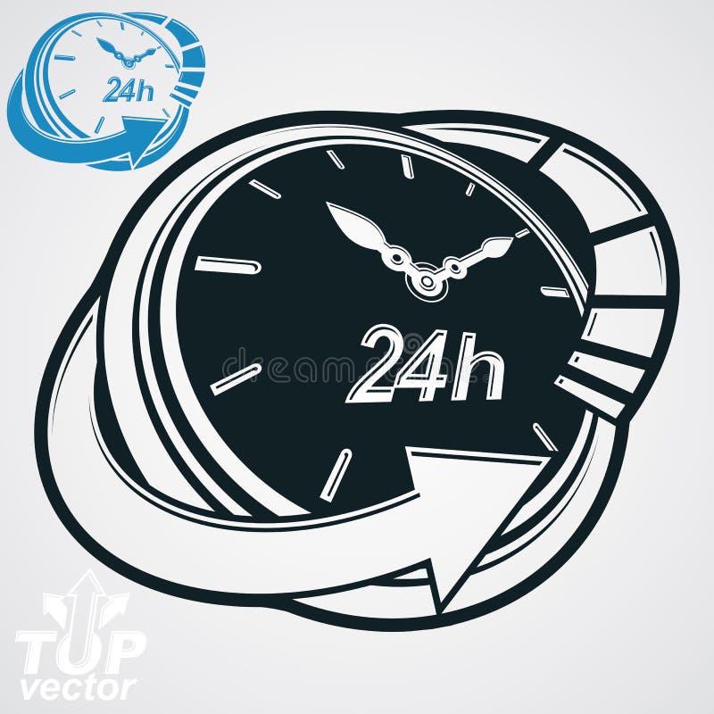 Czarny i biały 3d wektor 24 godziny zegar, bez odpoczynku picto ilustracji