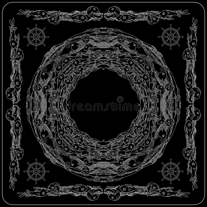 Czarny i biały dennego życia bandan kwadrata wzoru projekt royalty ilustracja
