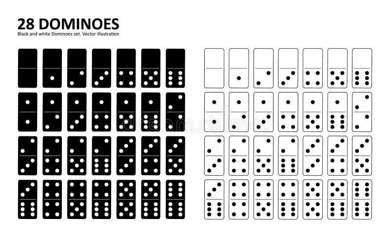 Czarny i biały domina pełny set ilustracji