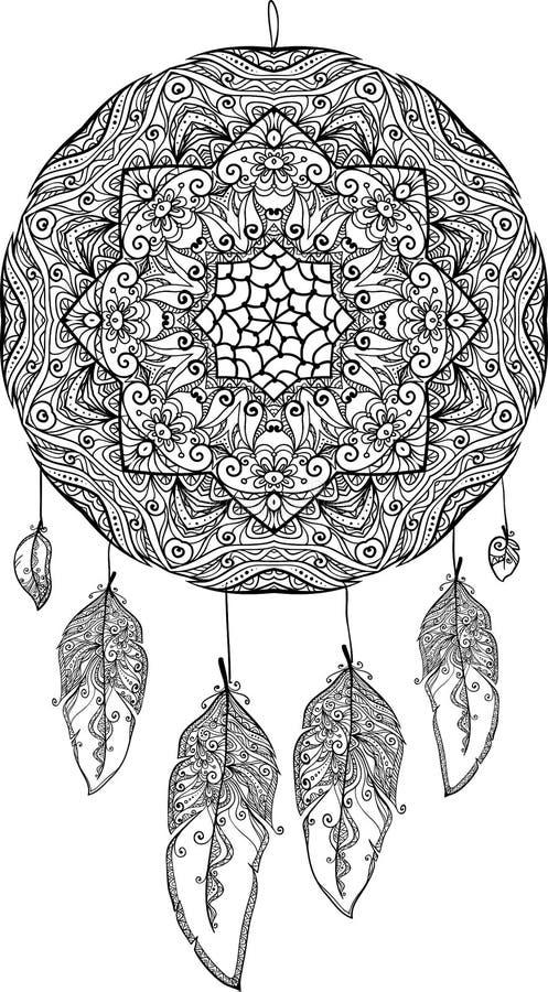 Czarny i biały doodle sen łapacz ilustracji