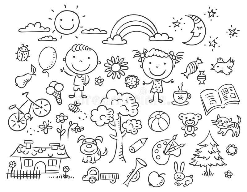 Czarny i biały doodle set ilustracja wektor