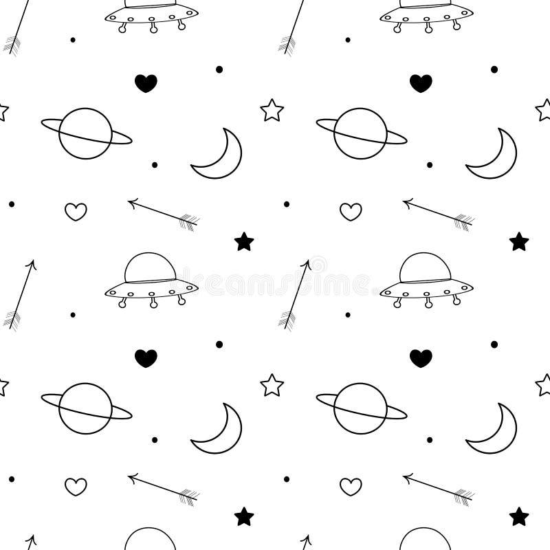 Czarny i biały doodle wektoru wzoru bezszwowy tło z księżyc, planetą, gwiazdami, sercem, strzała i ufo, ilustracja wektor