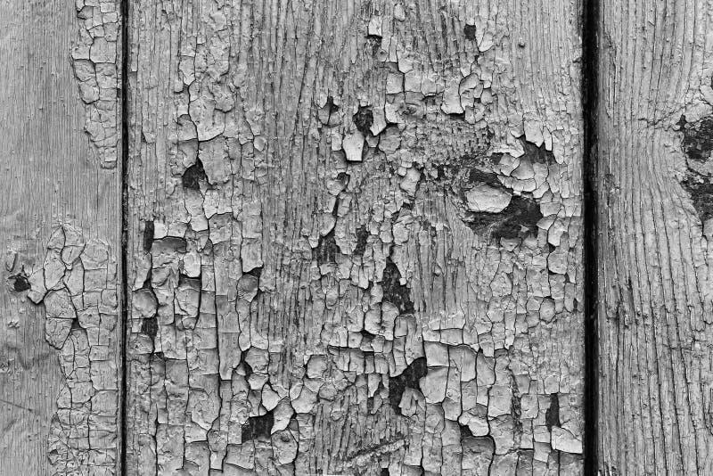 Czarny i biały, Drewniany deski tło z starą brąz farbą, zdjęcie stock