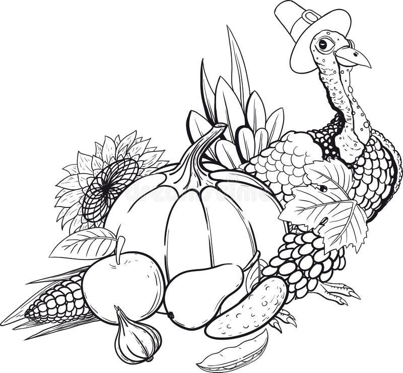 Czarny I Biały dziękczynienia wciąż życie ilustracji