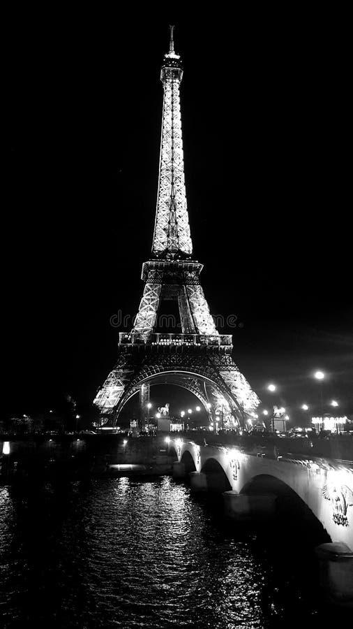 Czarny i biały Eiffel zdjęcie royalty free