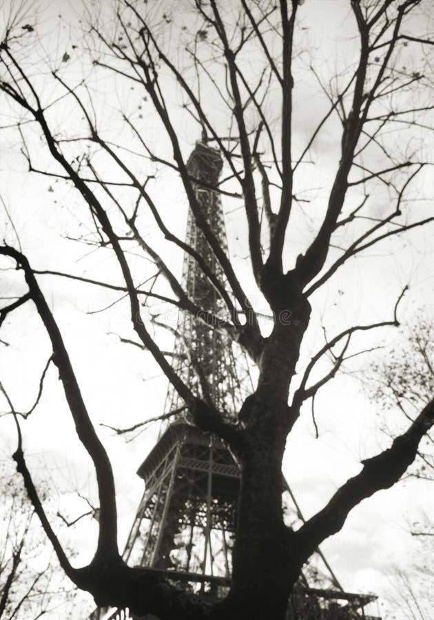 Czarny i biały ekranowa fotografia Kreatywnie abstrakcjonistyczny widok wieża eifla obrazy stock