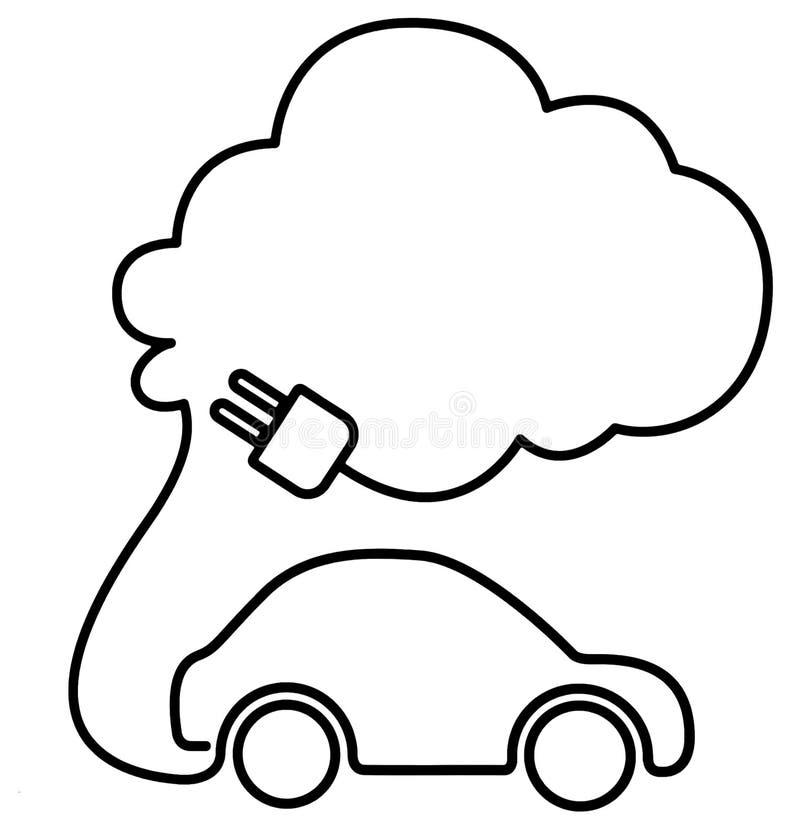 Czarny i biały elektrycznego samochodu znak z kablową prymką dla podładowywa kształtuje nad pojazd ilustracji