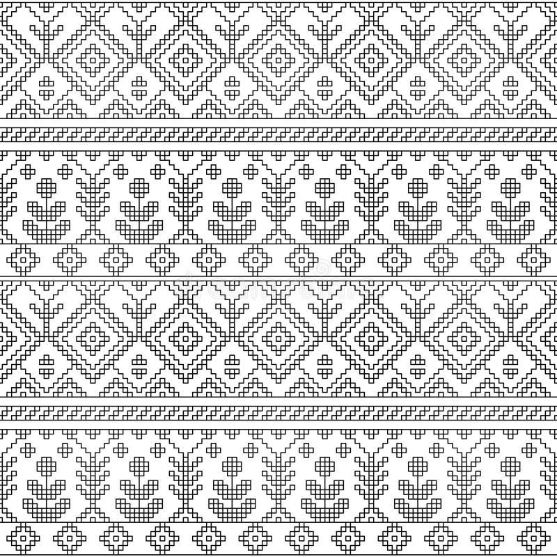 Czarny i biały etniczny geometryczny kwiecisty bezszwowy wzór, wektor ilustracji