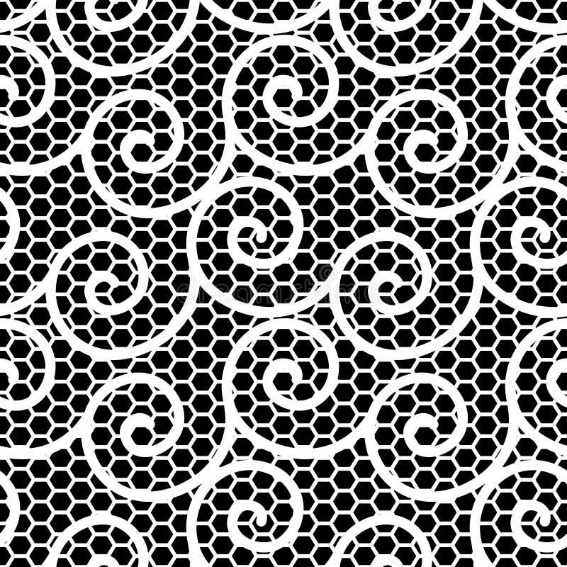 Czarny i biały falisty koronka wzór ilustracja wektor