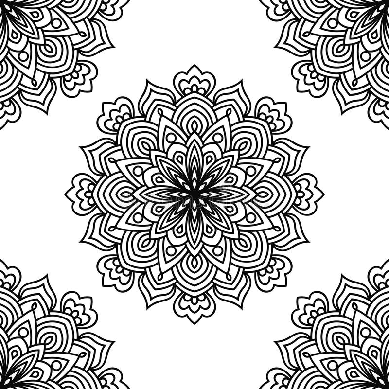 Czarny i biały fantazi bezszwowy wzór z ornamentacyjnym round doodle kwiatem na białym tle Czarny konturu mandala royalty ilustracja