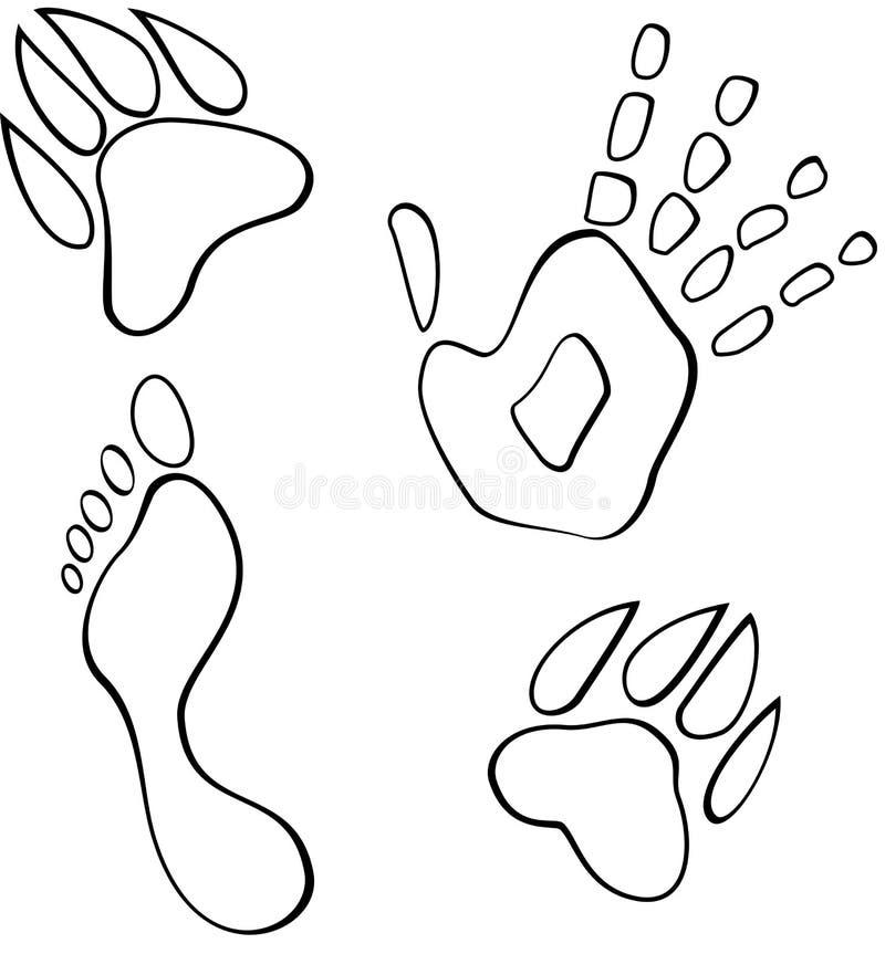 Czarny i biały footmarks wektorowi ilustracji
