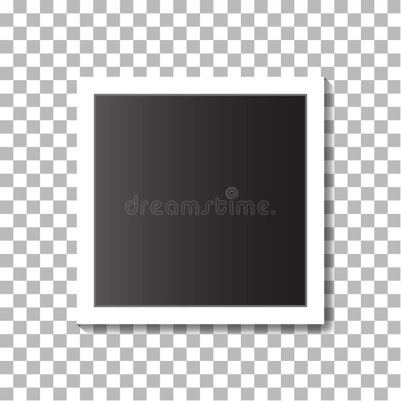 Czarny i biały fotografii rama na modnym tle Realistyczna wektorowa fotografii rama w rocznika stylu Wektor EPS 10 royalty ilustracja