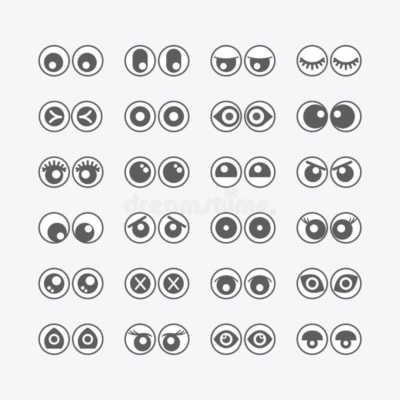 Czarny i biały gałek ocznych emoticons ikony ustawiać ilustracji