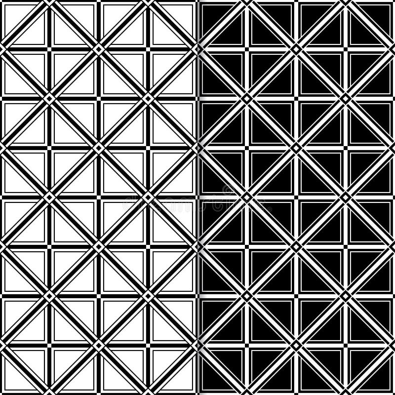 Czarny I Biały Geometryczni Bezszwowi wzory ilustracji