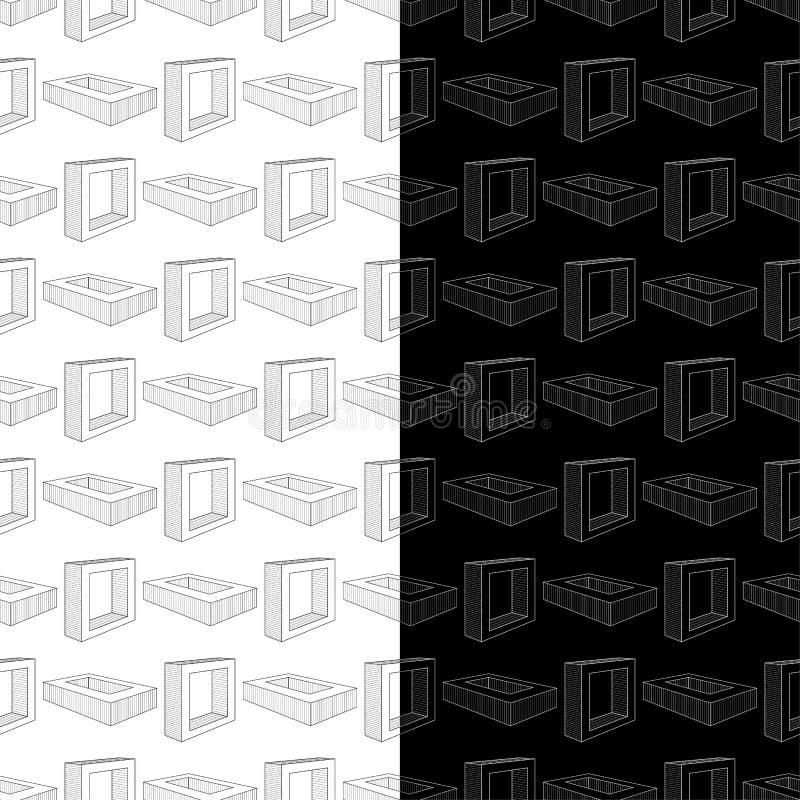 Czarny i biały geometryczni druki wzór bezszwowego zestaw ilustracji