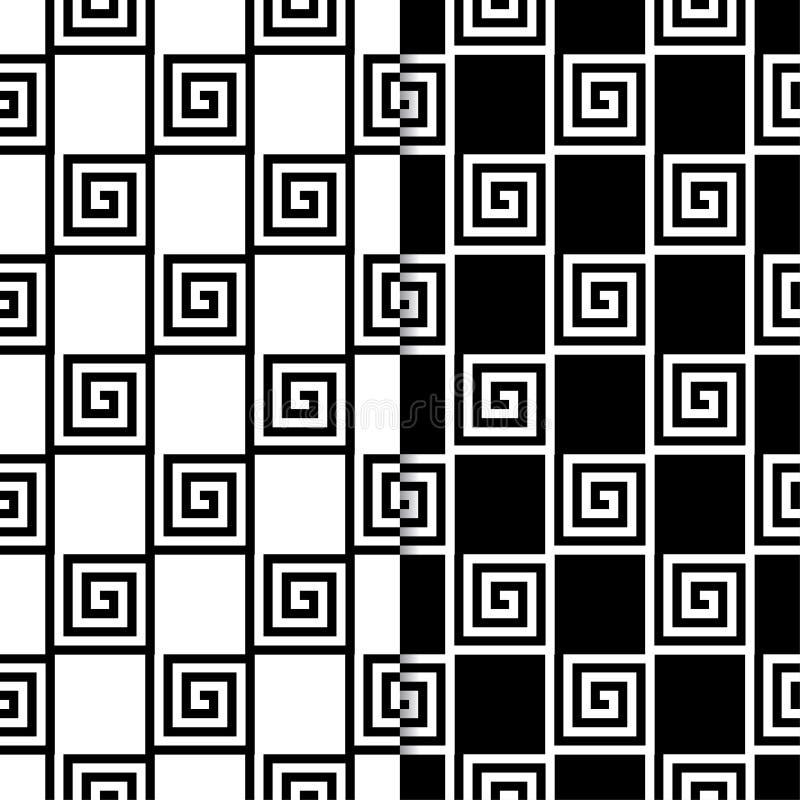 Czarny i biały geometryczni ornamenty wzór bezszwowego zestaw royalty ilustracja