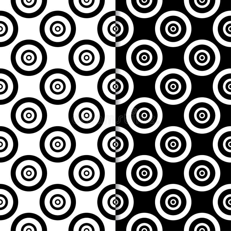 Czarny i biały geometryczni ornamenty wzór bezszwowego zestaw ilustracja wektor