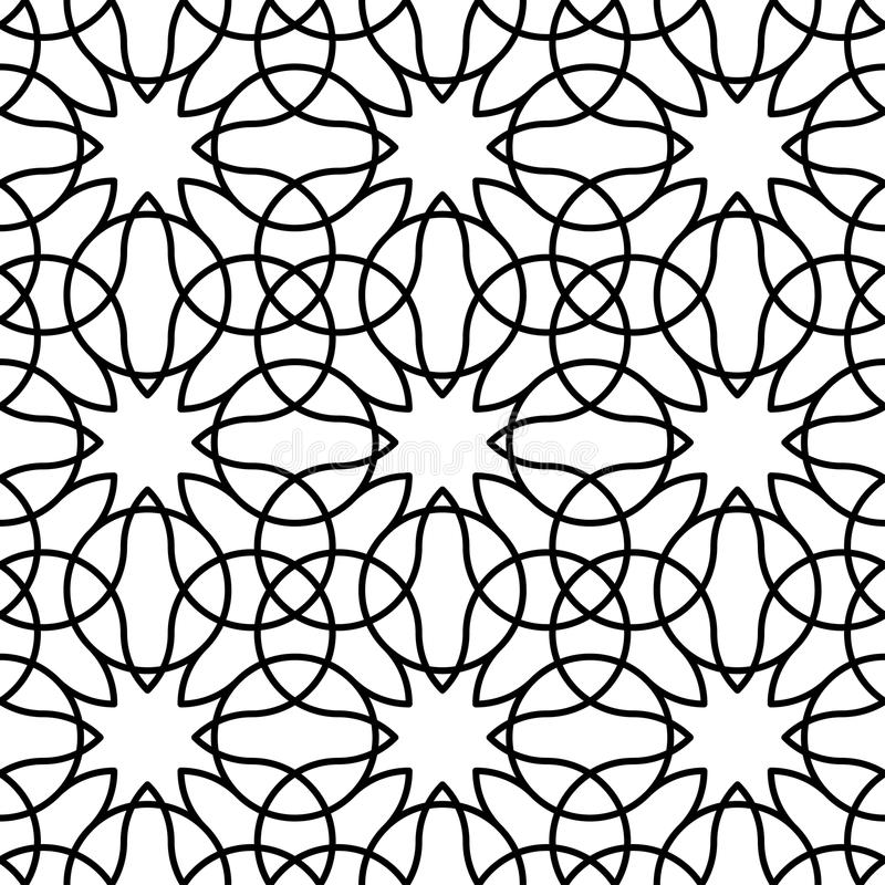 Czarny i biały geometryczny bezszwowy wzór z linią, abstrakcjonistyczny b royalty ilustracja
