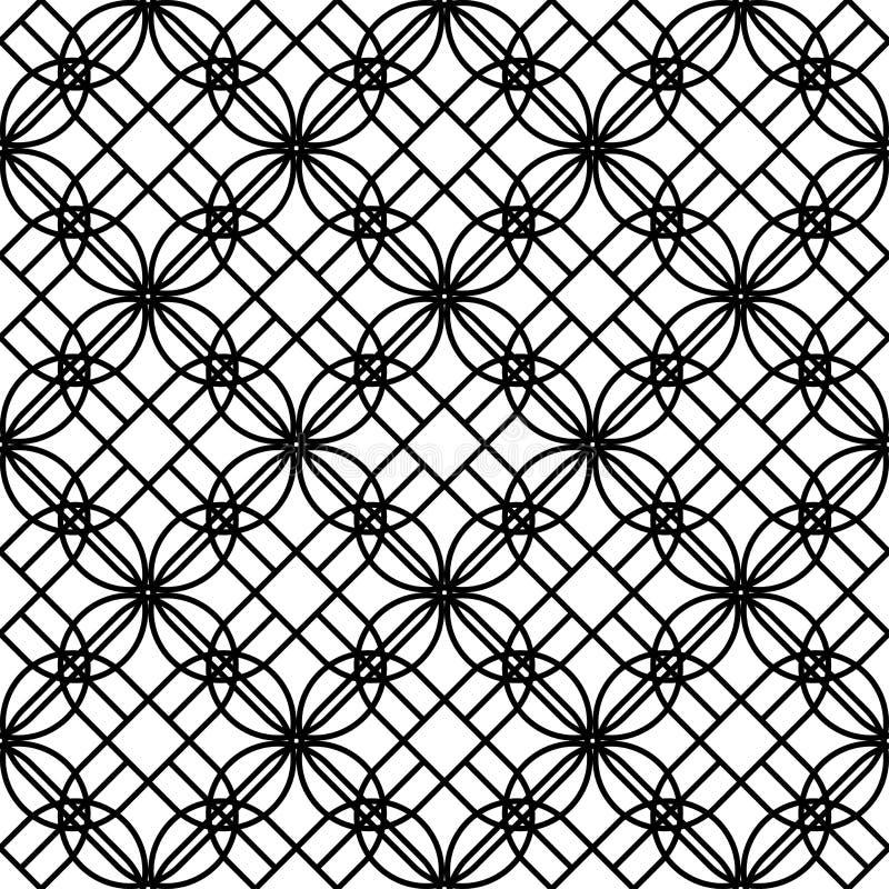 Czarny i biały geometryczny bezszwowy wzór z linią, abstrakcjonistyczny b ilustracja wektor