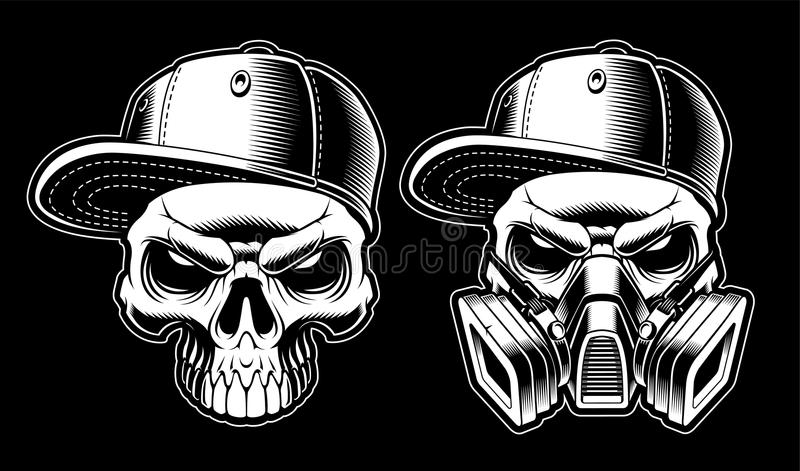 Czarny i biały graffiti czaszki ilustracji