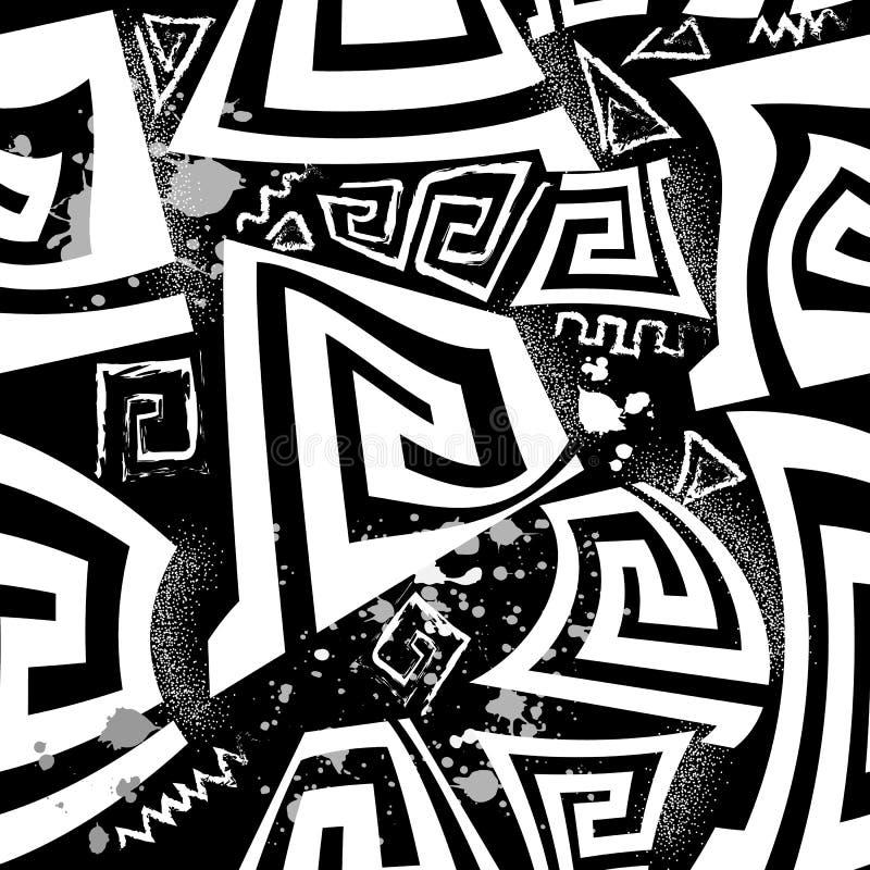 Czarny i biały grecki wektorowy bezszwowy wzór Geometryczny abstrakt kształtuje antycznego tło Kredowy grunge doodle grka klucz royalty ilustracja