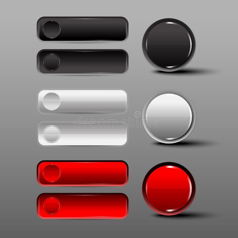 Czarny i biały guzika Round i kwadratowi ustaleni guziki royalty ilustracja
